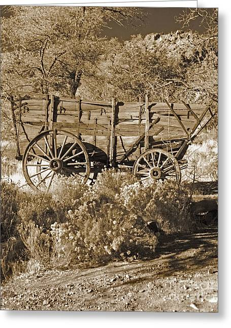 Old Western Photos Greeting Cards - My Wheels Sepia Greeting Card by Don Schimmel