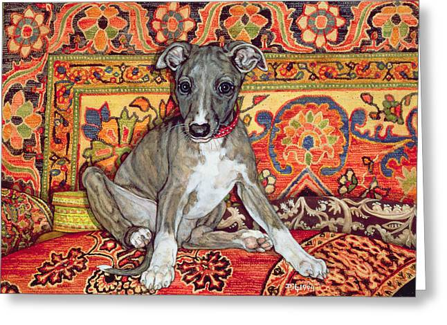 Cushion Greeting Cards - My Whippet Baby, 1994 Greeting Card by Ditz