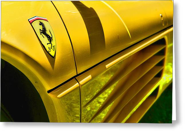 Yellow Line Greeting Cards - My Yellow Ferrari Greeting Card by Paul Ward