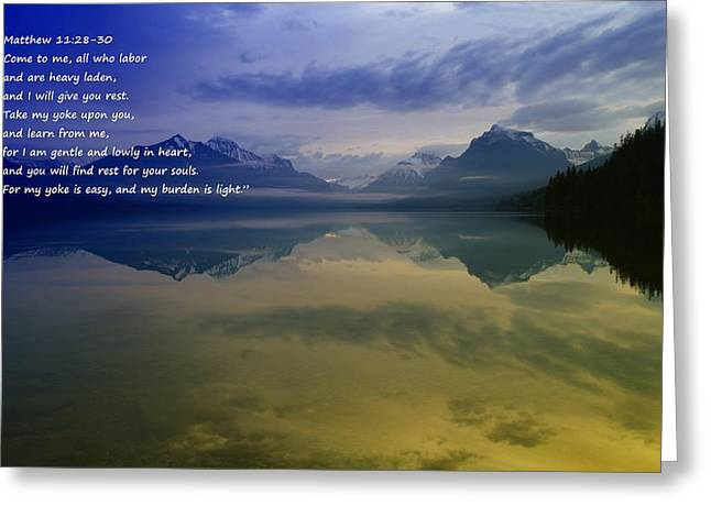 Bible Quotes Greeting Cards - My Yoke Is Easy Greeting Card by Jeff  Swan