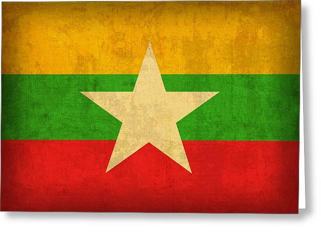 Myanmar Greeting Cards - Myanmar Burma Flag Vintage Distressed Finish Greeting Card by Design Turnpike