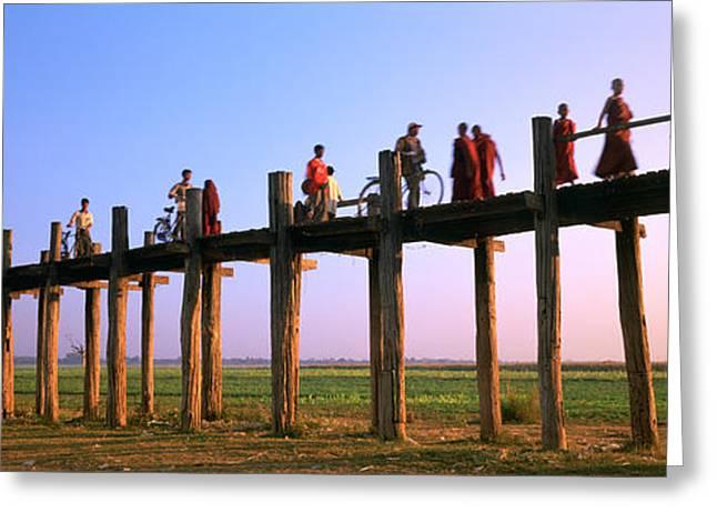 Myanmar Greeting Cards - Myanmar, Mandalay, U Bein Bridge Greeting Card by Panoramic Images