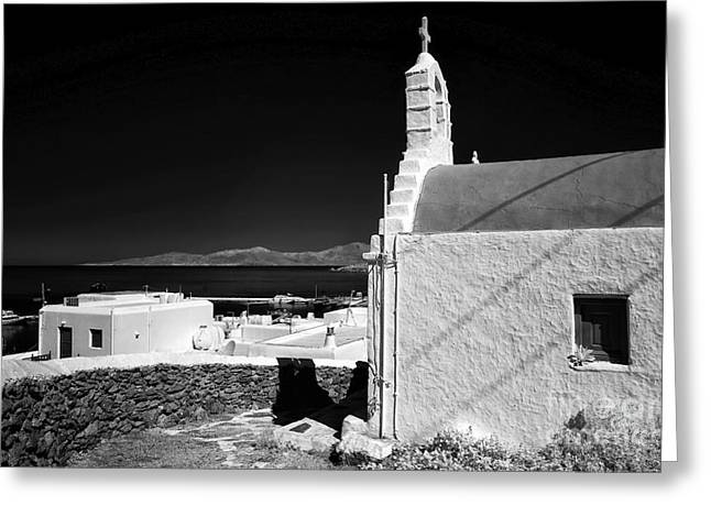 Ir Photography Greeting Cards - Mykonos Church Overlooking the Town infrared Greeting Card by John Rizzuto