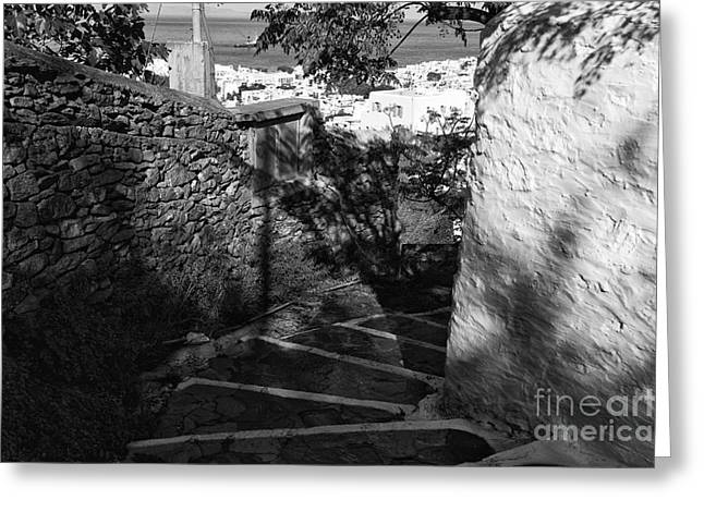 Stepping Stones Greeting Cards - Mykonos Dark Stairs mono Greeting Card by John Rizzuto