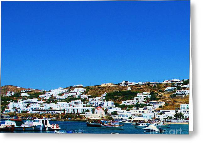 Boats In Harbor Greeting Cards - Mykonos Greece  Greeting Card by Cimorene Photography