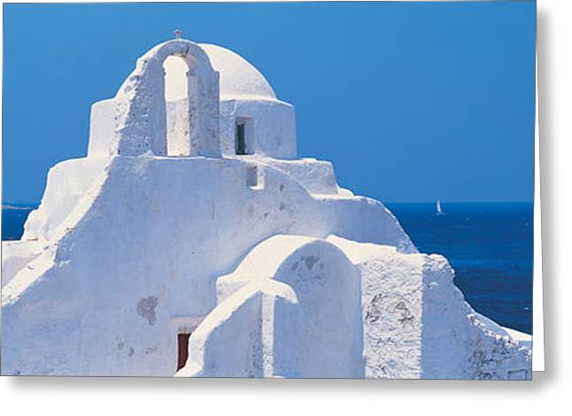 Flying Seagull Greeting Cards - Mykonos Island Greece Greeting Card by Panoramic Images