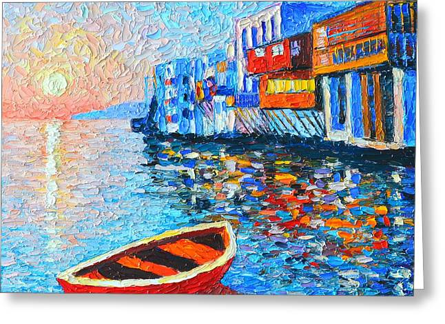 Abstract Expressionist Greeting Cards - Mykonos Little Venice - Timeless Moment Greeting Card by Ana Maria Edulescu