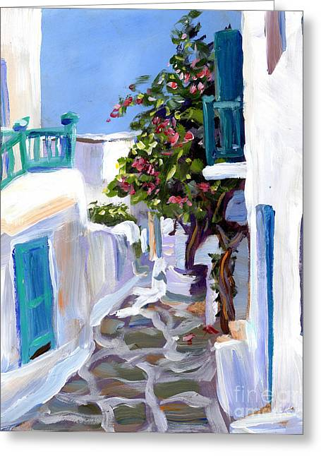 Purple Mountains Drawing Greeting Cards - Mykonos Passages Greeting Card by Valerie Freeman