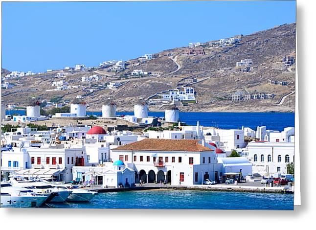 Mykonos Port Greeting Card by Corinne Rhode