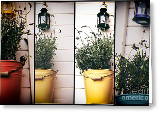 Yellow Flower Pot Greeting Cards - Mykonos Pot Colors Panels Greeting Card by John Rizzuto