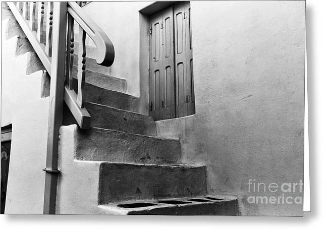 Stone Steps Greeting Cards - Mykonos Stone Stairs mono Greeting Card by John Rizzuto