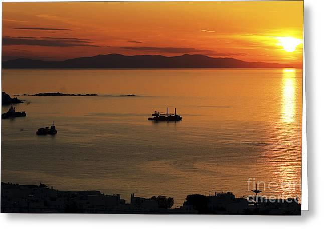 Sunset Posters Greeting Cards - Mykonos Sunset Greeting Card by John Rizzuto