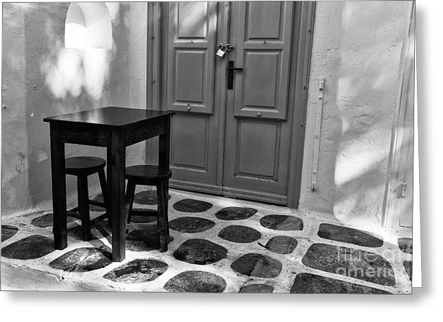 Table And Chairs Greeting Cards - Mykonos Table and Chairs mono Greeting Card by John Rizzuto