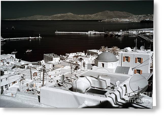 Ir Photography Greeting Cards - Mykonos Town Harbor infrared Greeting Card by John Rizzuto