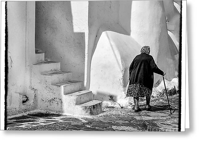 Woman In A Dress Greeting Cards - Mykonos Walk Greeting Card by Remi D Photography