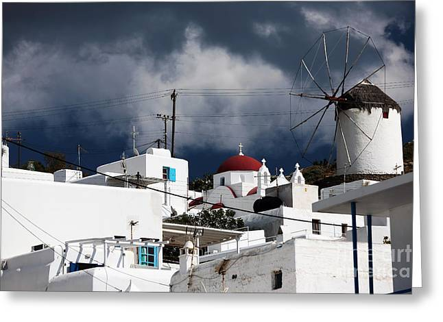 The Hills Greeting Cards - Mykonos Windmill on the Hill Greeting Card by John Rizzuto