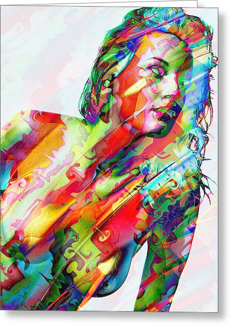 Posters Of Women Mixed Media Greeting Cards - Myriad of Colors Greeting Card by Kiki Art