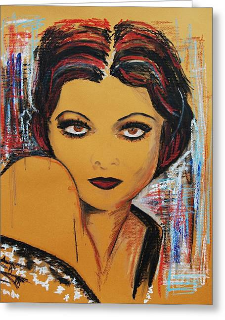 Maiden Pastels Greeting Cards - Myrna Loy Greeting Card by Maria Mitchell