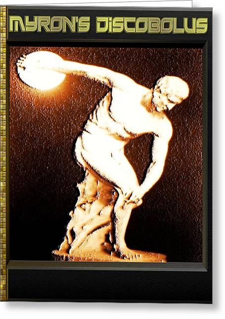 Greek Sculpture Digital Art Greeting Cards - Myrons Diskobolus Greeting Card by Museum Quality Prints -  Trademark Art Designs