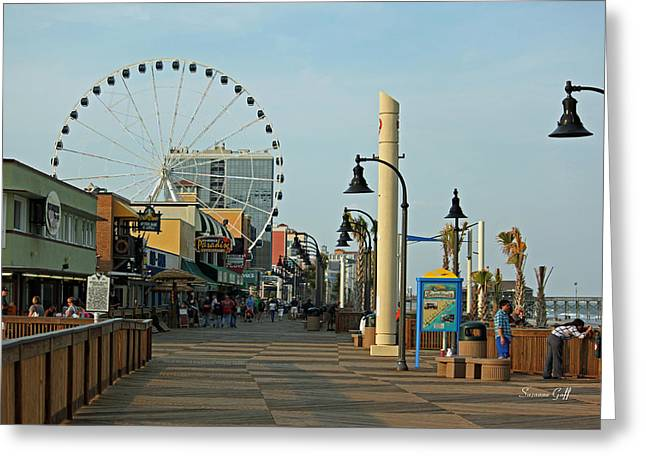 Myrtle Beach Boardwalk Greeting Card by Suzanne Gaff