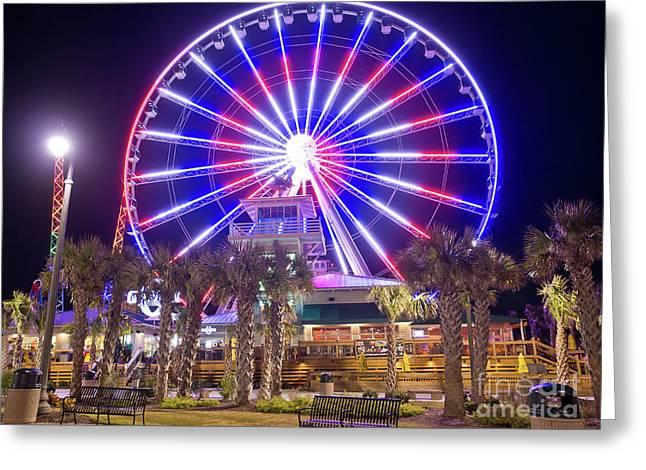 Mike Covington Greeting Cards - Myrtle Beach Sky Wheel Greeting Card by Mike Covington