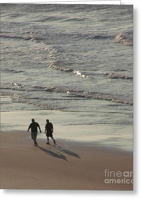 Myrtle Beach Walking Buddies Greeting Card by Gail Matthews