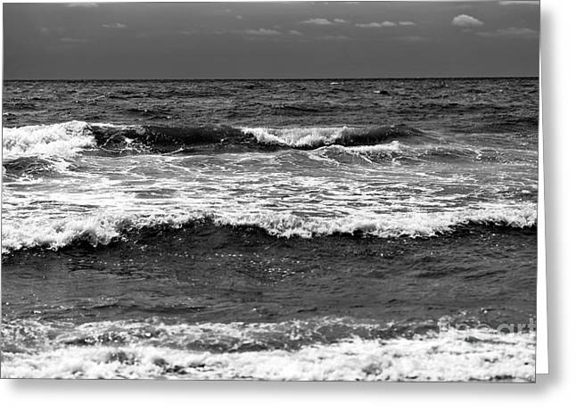 Myrtle Beach Ocean Photography Greeting Cards - Myrtle Beach Waves mono Greeting Card by John Rizzuto