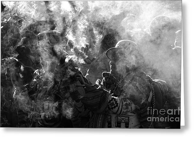 Incense Smoke Greeting Cards - Mysterious Andean Rituals Greeting Card by James Brunker