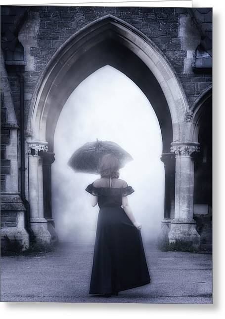 Haze Photographs Greeting Cards - Mysterious Archway Greeting Card by Joana Kruse