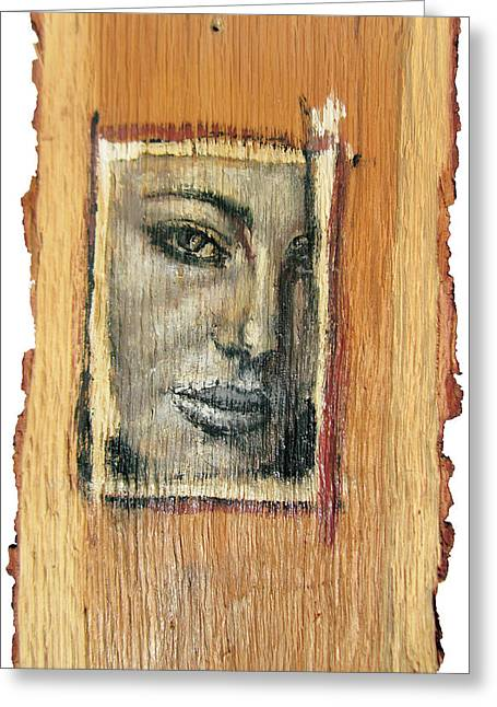 People Reliefs Greeting Cards - Mysterious Girl Face Portrait - Painting On The Wood Greeting Card by Nenad  Cerovic