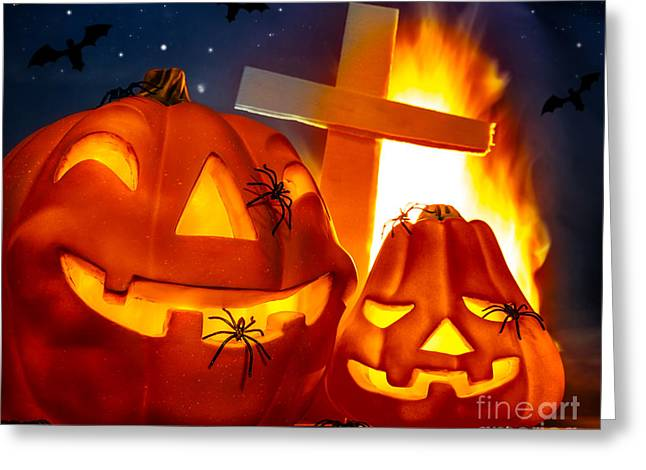Flying Spider Greeting Cards - Mysterious Halloween night Greeting Card by Anna Omelchenko