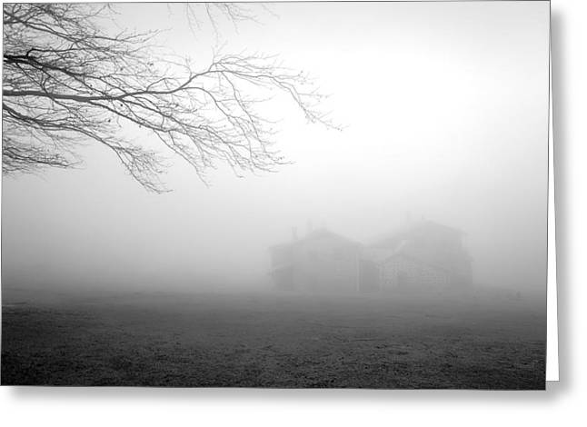 Mountain Cabin Greeting Cards - Mysterious House In The Forest With Fog Greeting Card by Mikel Martinez de Osaba