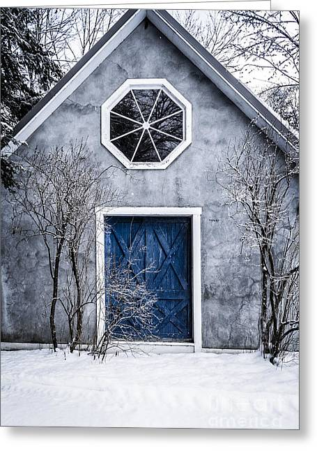 Snow On Barn Greeting Cards - Mysterious house with blue door Greeting Card by Edward Fielding