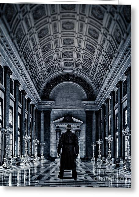 Guns Photographs Greeting Cards - Mysterious Man Greeting Card by Edward Fielding