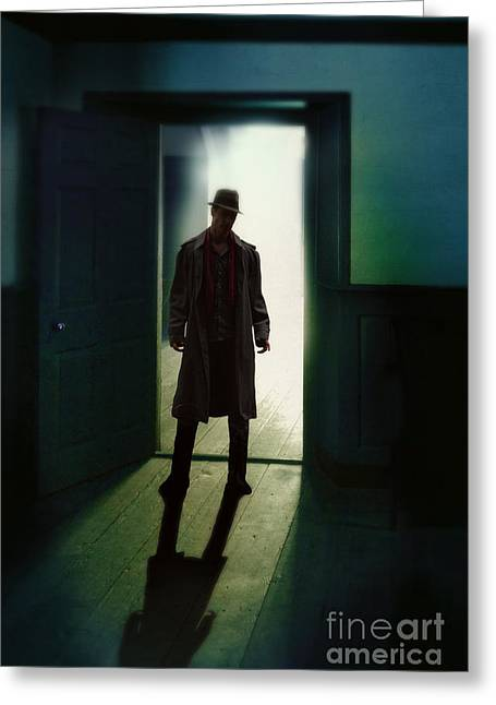 Mystery Door Greeting Cards - Mysterious Man in Doorway Greeting Card by Jill Battaglia