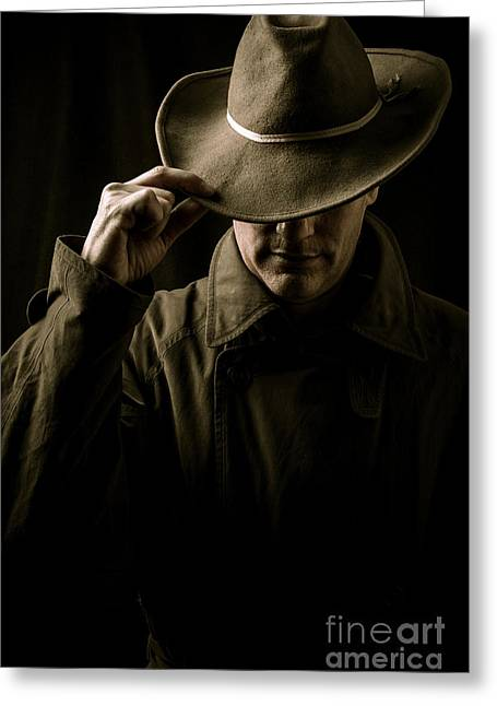 Mysterious Man In Hat And Trench Coat Greeting Card by Edward Fielding