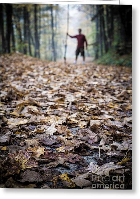 Dark Woods Greeting Cards - Mysterious man in the Forest Greeting Card by Edward Fielding