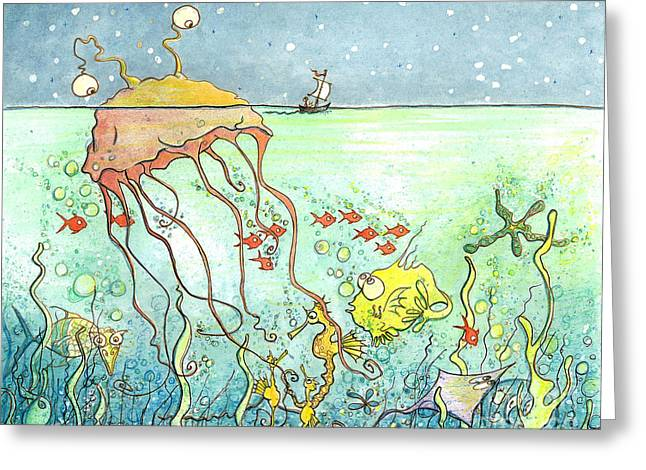 Jelly Fish Greeting Cards - Mysterious Monster Greeting Card by Priscilla  Jo