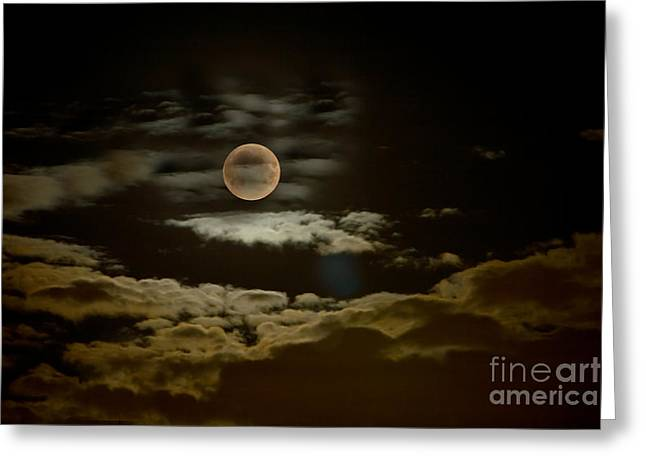 Copy Space Pyrography Greeting Cards - Mysterious Moon Greeting Card by Boon Mee
