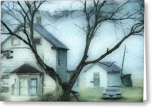 Old House Photographs Greeting Cards - Mysterious Morning Greeting Card by Kathy Jennings