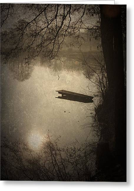 Wooden Platform Greeting Cards - Mysterious Morning Greeting Card by Maria Heyens