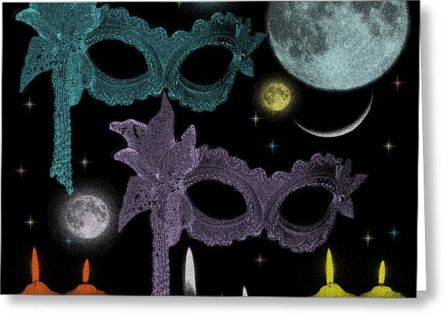 Candle Lit Greeting Cards - Mysterious Night Venice Carnival digital art Greeting Card by Georgeta Blanaru
