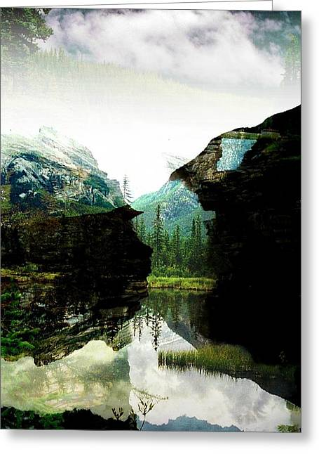 Dark Blue Greeting Cards - Mysterious Reflections Greeting Card by Shirley Sirois