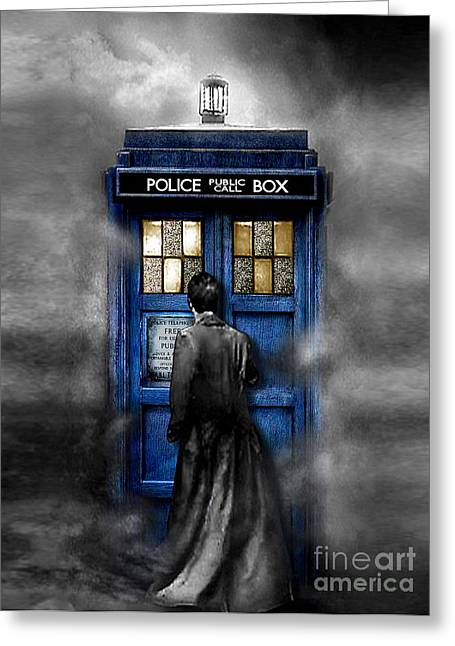 Doctor Who Greeting Cards - Mysterious Time traveller with Black Jacket Greeting Card by Three Second