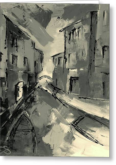 Europe Mixed Media Greeting Cards - Mysterious Venice Greeting Card by Elise Palmigiani