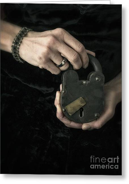 Mystery Photographs Greeting Cards - Mysterious Woman with Lock Greeting Card by Edward Fielding