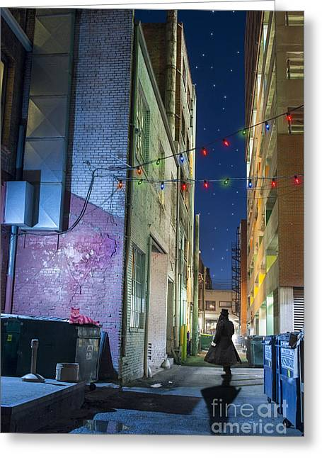 Christmas Lights Photographs Greeting Cards - Mystery Alley Greeting Card by Juli Scalzi