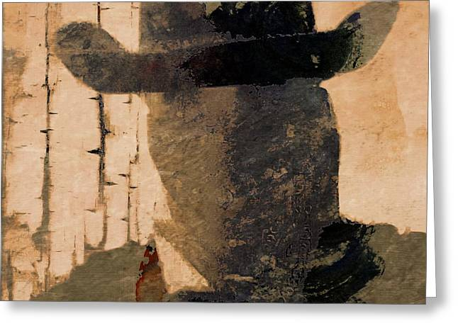 Old Western Photos Mixed Media Greeting Cards - Mysterious Cowboy  Greeting Card by Aaron Berg