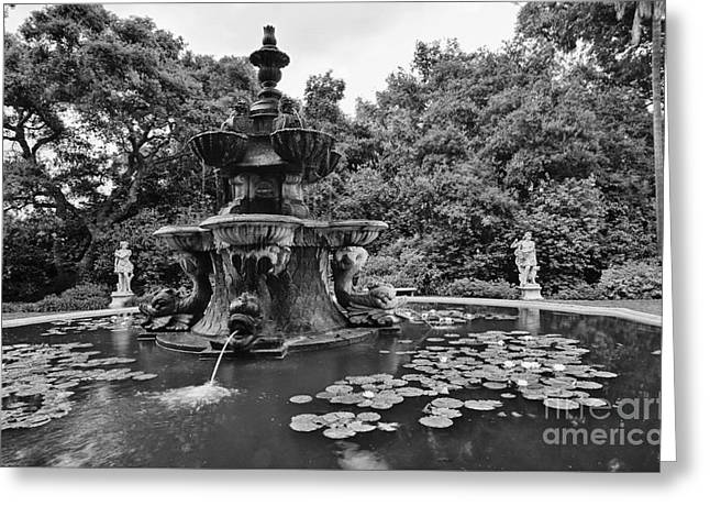 Mystery Fountain - Huntington Library And Botanical Gardens. Greeting Card by Jamie Pham