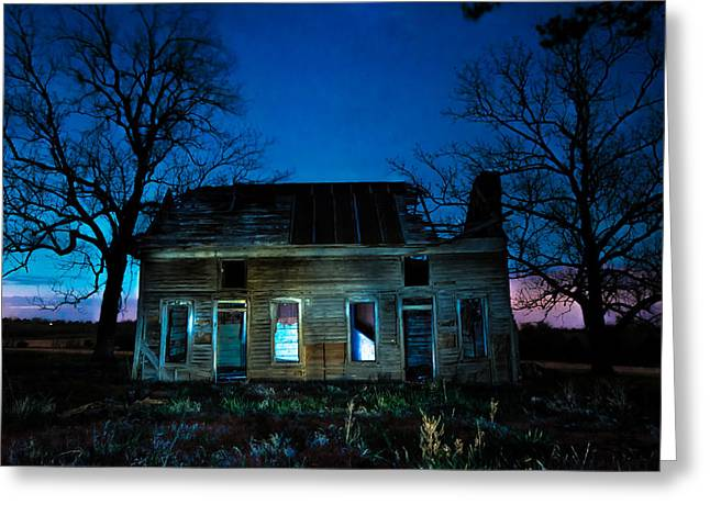 Ghostly Barn Greeting Cards - Mystery House on the Hill Greeting Card by Gregory Ballos